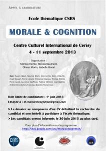 Appel à candidature pour l'Ecole thématique CNRS : MORALE & COGNITION